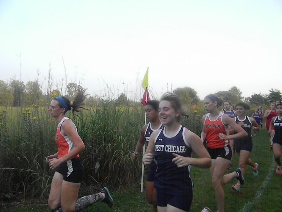 Varsity members, including Shelley Parat, ran as JV at the Sycamore Invitational, taking first place.