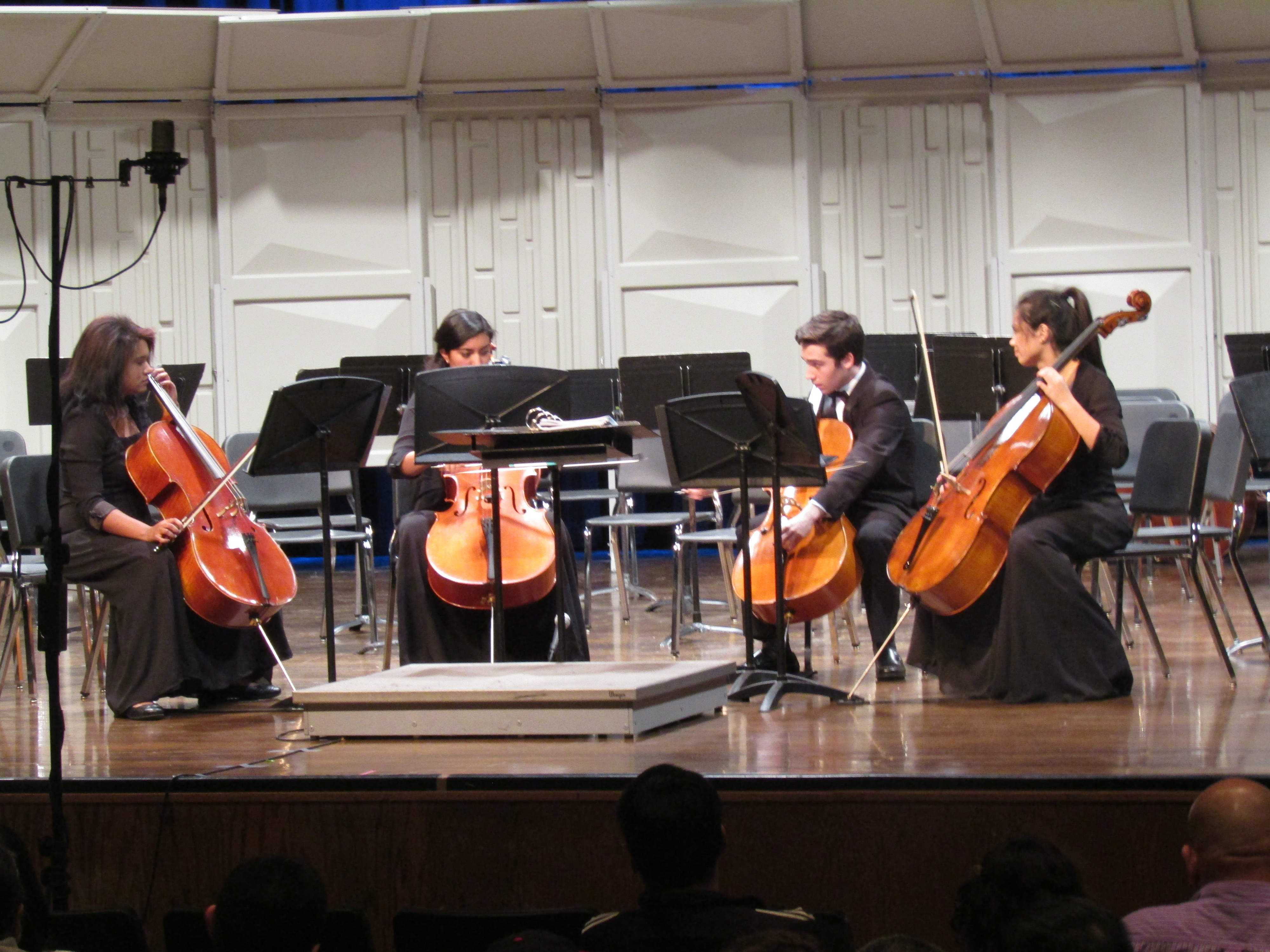 The concert included performances from the concert orchestra, chamber orchestra, cello choir, and the combined orchestra. Seniors Jeanna Brown and  Vanessa Hasbun as well as sophomores Jack Gillespie and Avalon Smith preform as the cello choir.