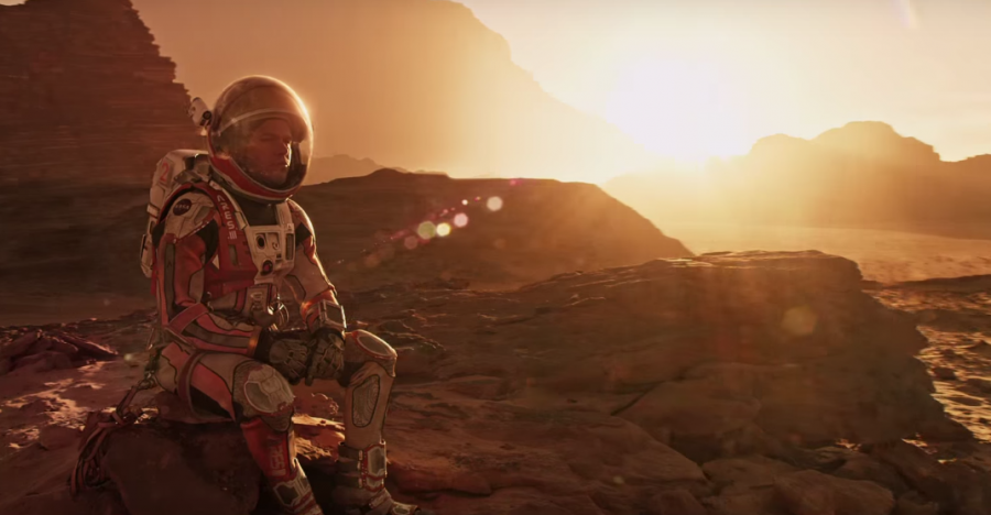 Taken from the movie's trailer courtesy of 20th Century Fox, Mark Watney (Matt Damon) sits alone on a lifeless planet questioning whether or not rescue will ever come.