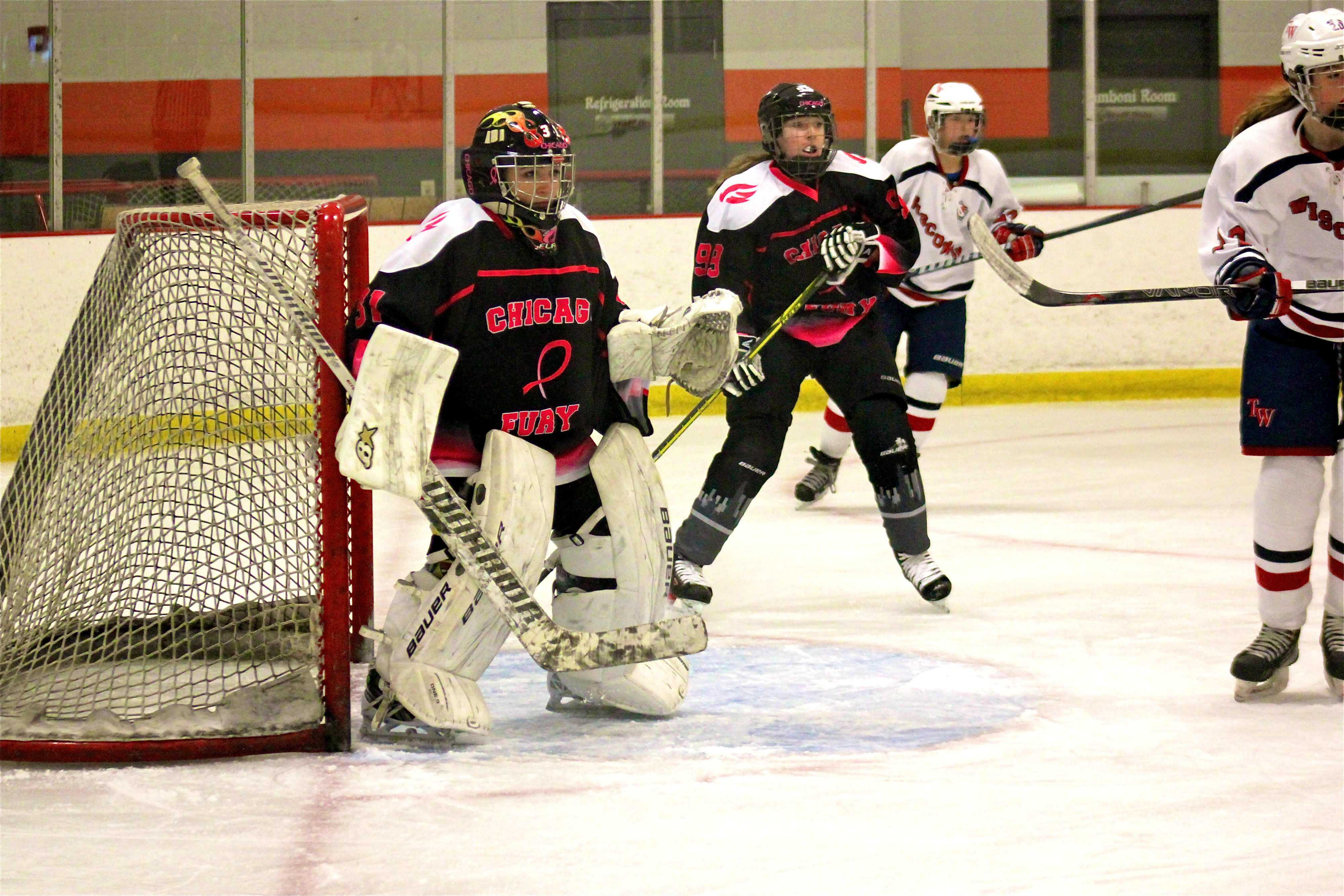 Hockey goalie, junior Emily Wissemes, started playing hockey at 11 years old. Wissemes currently plays for the Chicago Fury, and had a shutout against Team Wisconsin on Nov. 1. Photo courtesy of Stella Wissemes.