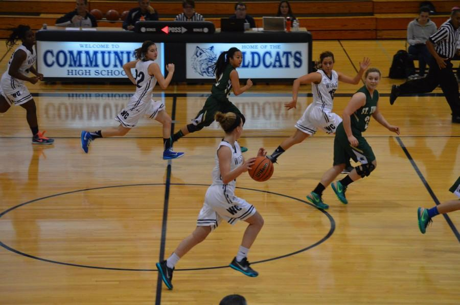 The+Lady+Wildcats+lost+their+first+home+game+of+the+season+against+St.+Edwards+on+Dec.+12.+Sophomore+guard+Sofia+Radice+pushes+the+ball+up+the+court.+