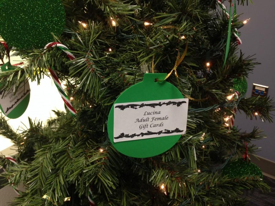 Two trees set up in the Student Resource Center hold ornaments with the names of families that students can donate gifts to. Any student can come by and help give these families a happy Christmas.