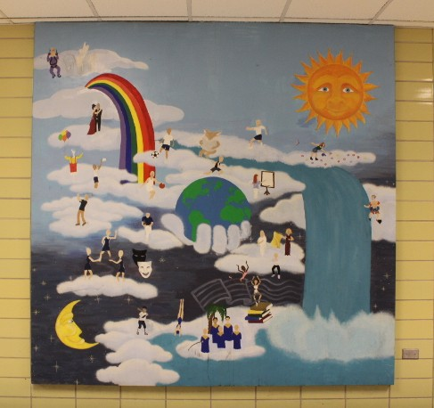 A tradition dating back to 1993 will end this summer due to construction. This mural was the first one made by students and is on the second floor.