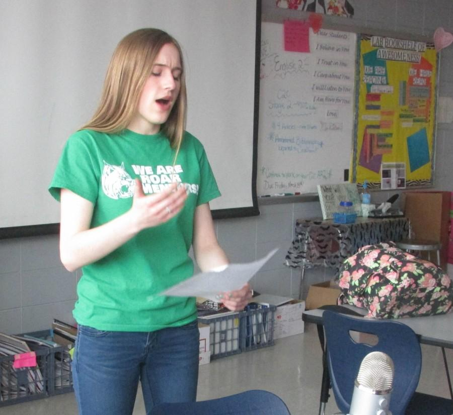Creative Writing Club was recently featured in an episode of Wegovox. Sophomore Rachel Kent performs