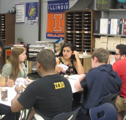 Different clubs got together to test the card game based off of the government simulation.
