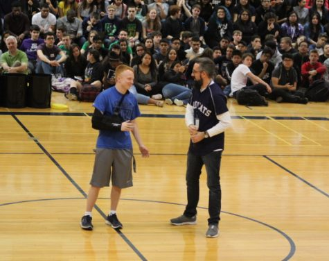 Three point Class 4A state champion Jacob Wiegele was recognized during the school assembly on April 14.