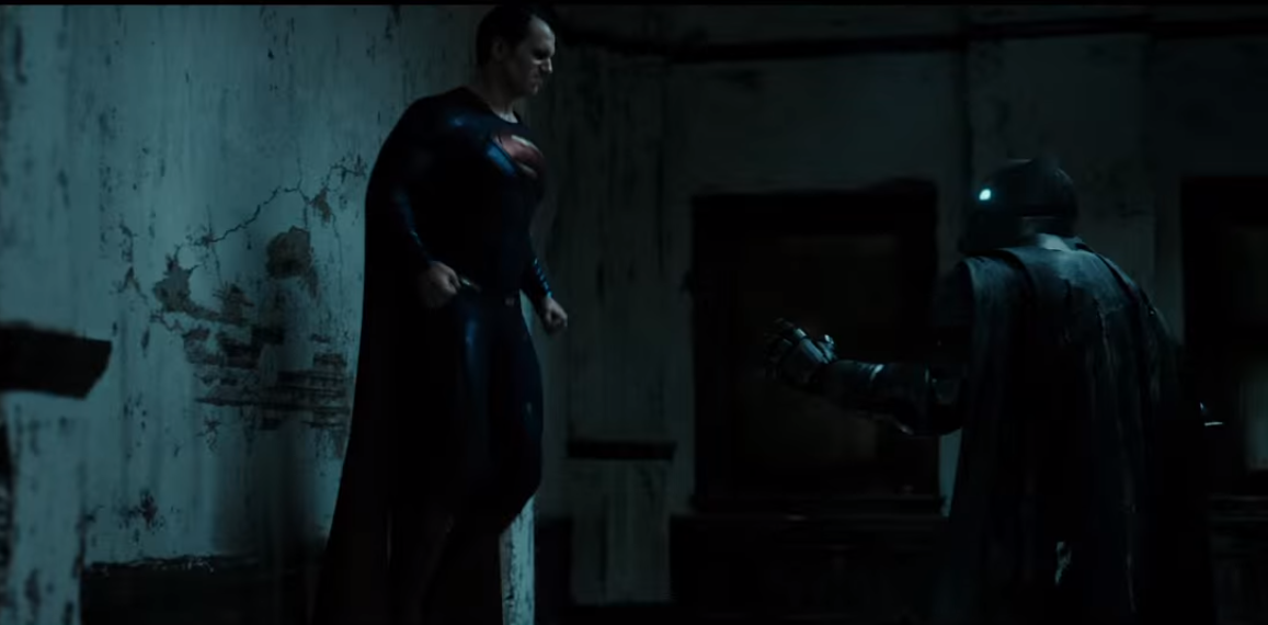 Taken from the movie's trailer courtesy of Warner Bros. Pictures, Superman (Henry Cavill) faces off against Batman (Ben Affleck) in a supposed fight to the death.