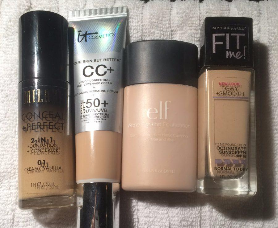 ULTA= It Cosmetics CC Cream with SPF +50 $38.00 Real Techniques Expert Face Brush $8.99 TARGET= Maybelline Fit Me! Dewy + Smooth Foundation $5.99 e.l.f.  Flat Foundation Brush $3.00