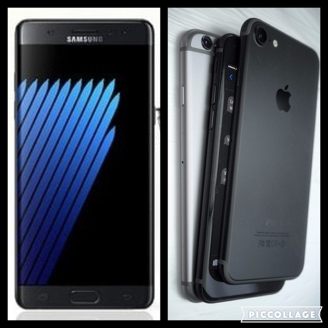 Reported Galaxy Note 7 (left) explosions drives potential buyers to iPhone 7 (right).