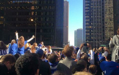 Fans gathered to celebrate the Cub's victory in Chicago