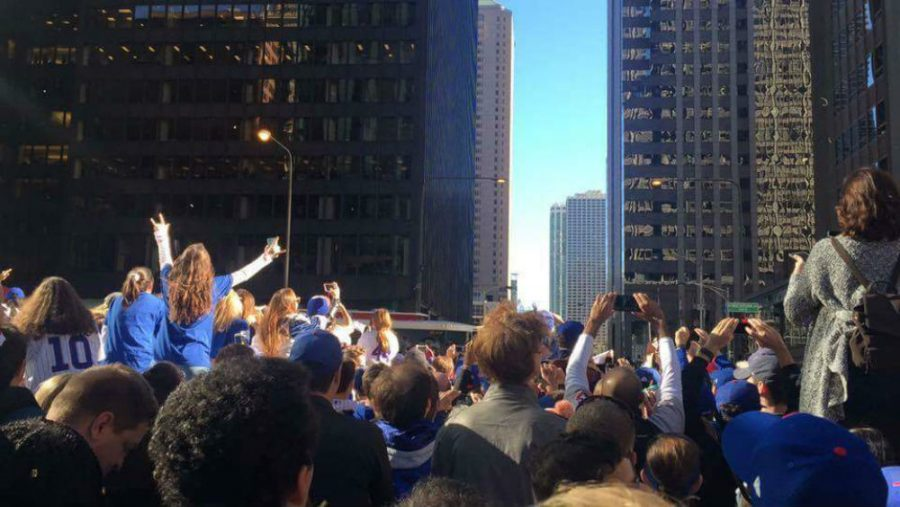 Fans+gathered+to+celebrate+the+Cub%27s+victory+in+Chicago