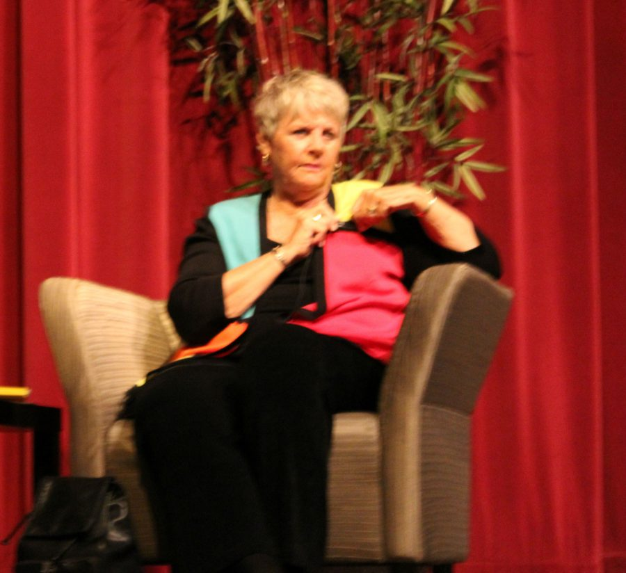 Chris Voelz is names the Distinguished Alumni. She speaks with students in the auditorium.
