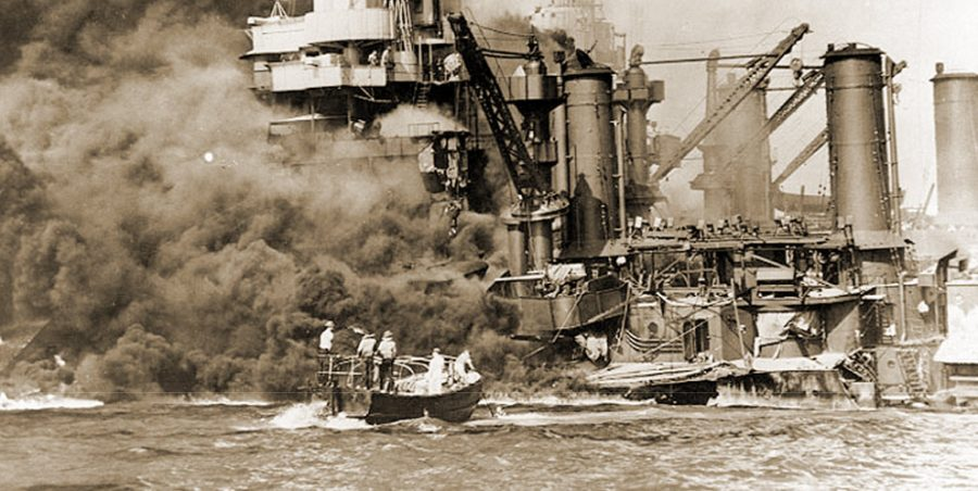 US Shaw exploding in Pearl Harbor Dec. 7, 1941.
