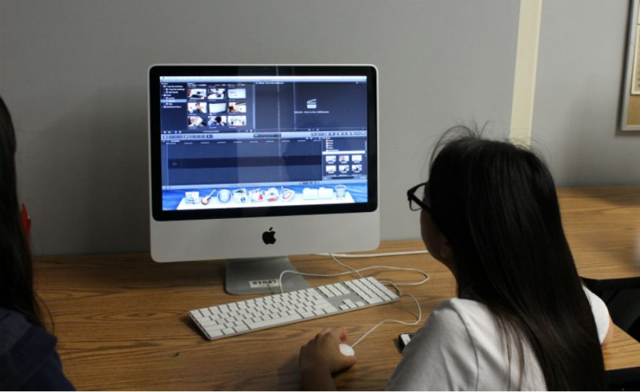 Senior Arlene Juarez works on the lip-dub during broadcasting class. The lip-dub will be April 21.