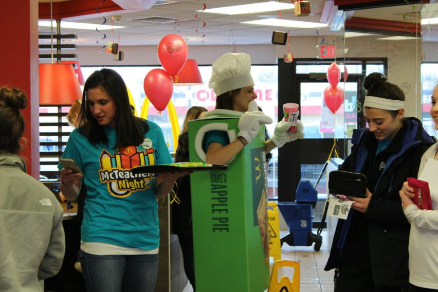 Teachers volunteered their time at Club Green's annual McTeacher Night. Teachers worked with the staff at McDonald's.