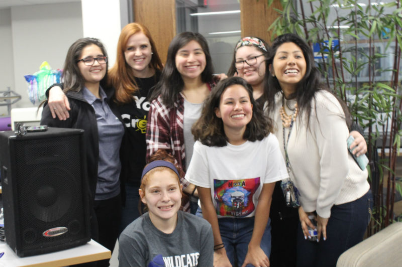 "Many people came to listen to Jessica Garcia's album debut ""Nota Si Misma."" From back left are senior Jackeline Escalante, Spanish teacher Anne Salazar, seniors Jasmine Pena, Aislinn Morales, and Valeria Zacatzi. From the bottom left are seniors  Daniela Flores and Jessica Garcia."