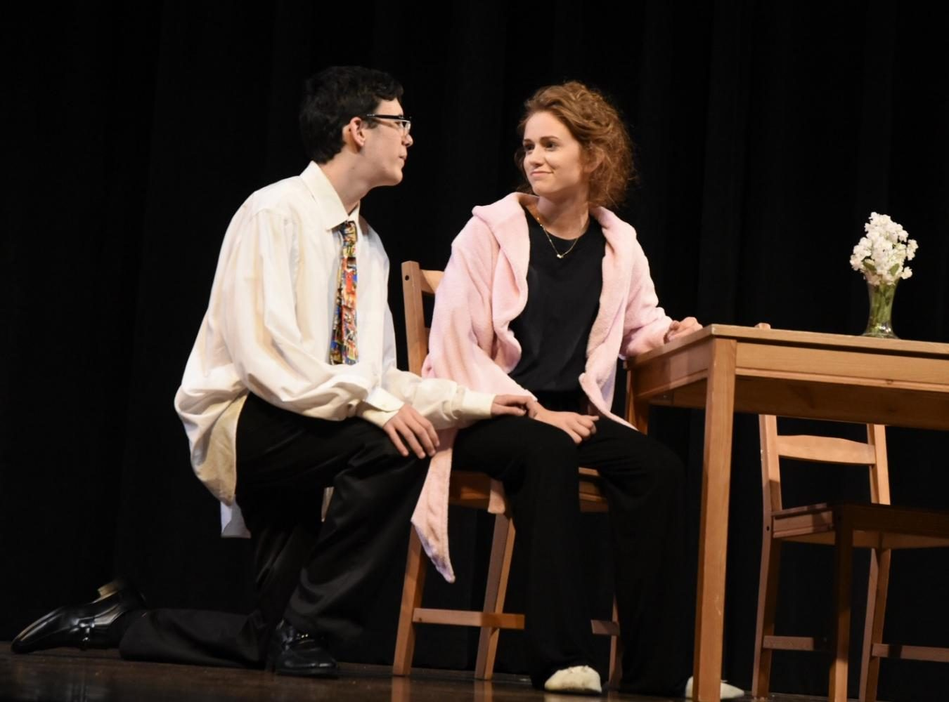Freshman Ryan Castiglia and sophomore Megan Kordik on stage during the 24 Play Festival