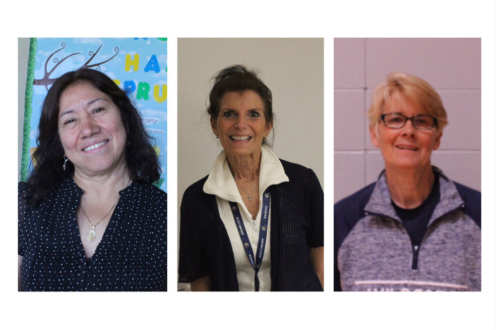 From left to right, program assistant Maria Fernandez, family and consumer science teacher Patricia Clifford, physical education teacher Kristy Hasty, and math teacher Gwen Geiger (absent) will be retiring at the end of the year.