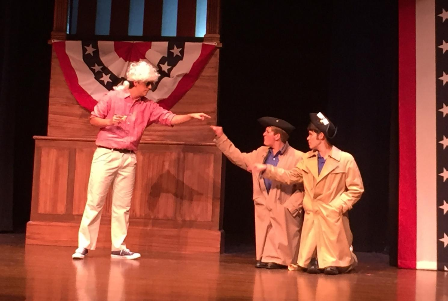 "Kenneth Correa, David Brown, and Ricky Gieser rehearse for ""The Complete History of America (Abridged)."""