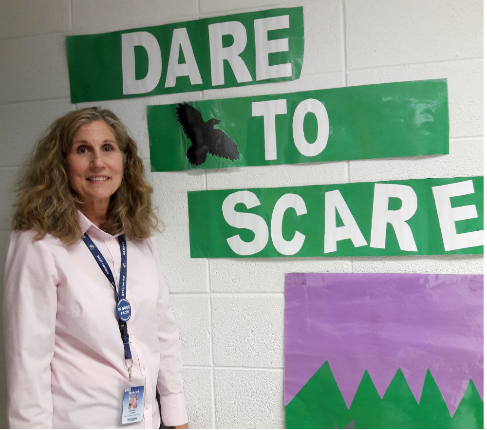Library media specialist Donna Leahy is one of the sponsors and creators of Dare to Scare, an event that holds a writing competition, an event for third graders, and for this year, a performance competition.