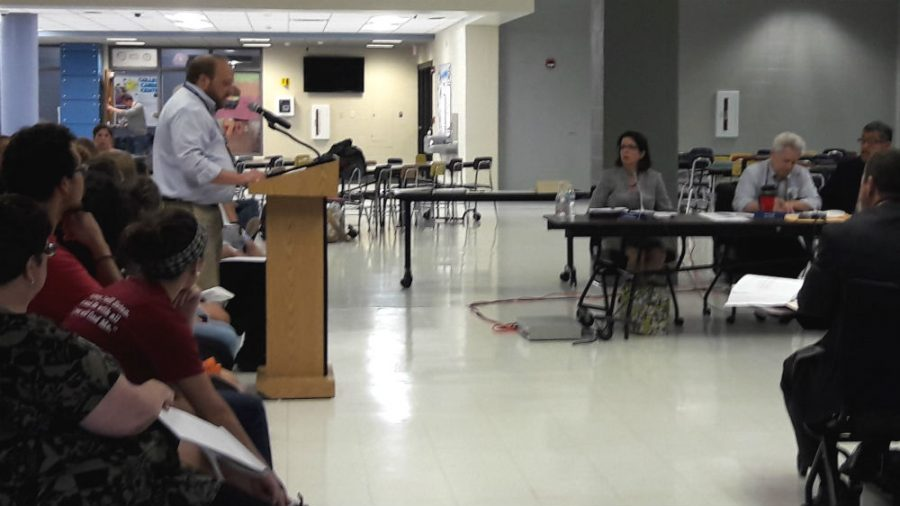 West Chicago Teachers' Association president Brad Larson gives his statement regarding the lack of a contract issue to the Board of Education and to the audience at the Sept. 19 board meeting. Larson will provide information regarding contract negotiations Thursday at community forum at the American Legion.