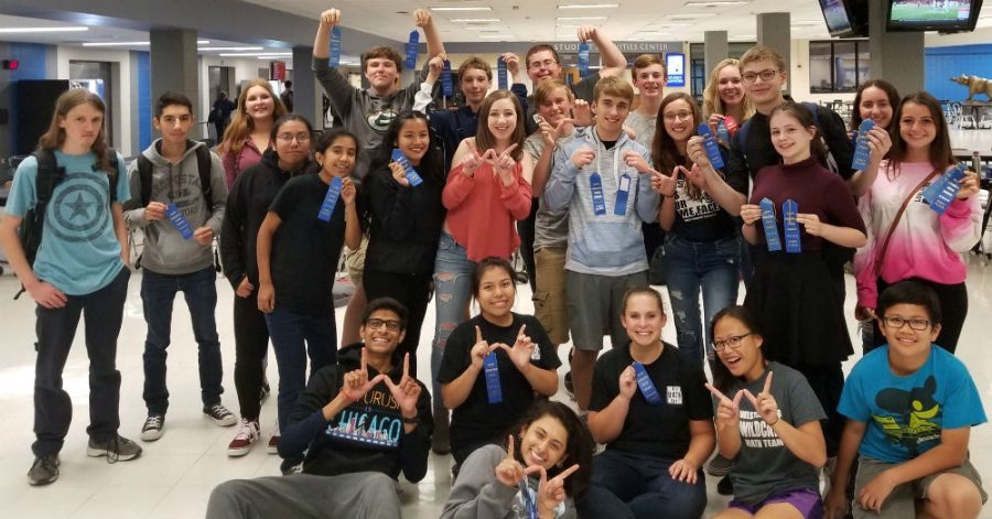 Math team poses after earning first place at the Math League meet Sept. 28.