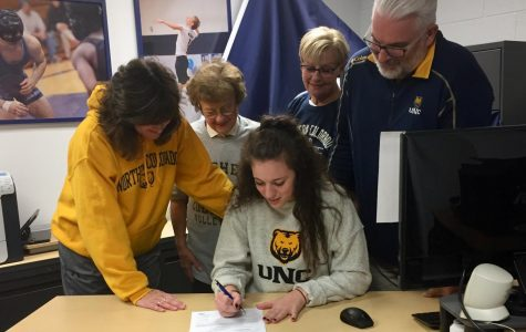 Senior Laura Katarzynski signs letter of intent with University of Northern Colorado to play volleyball.