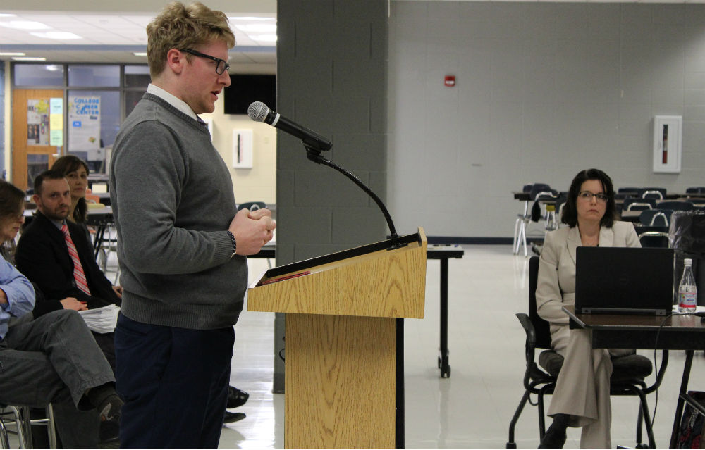 2010 graduate Brendan McCormack speaks from the point of view of prospective teachers during the public participation session at the Dec. 19 board meeting.