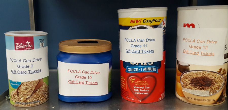 FCCLA will also hold a raffle along with the can drive. One student from each grade level will be picked and receive a gift card.