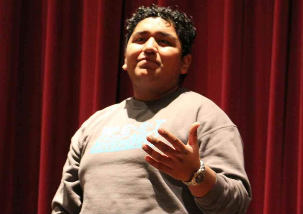 Senior Efrain Aguilar practices his piece
