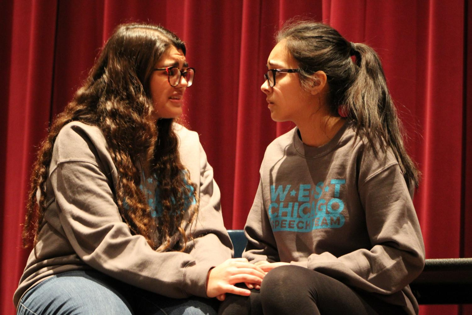"Junior Alexia Gountanis (left) and sophomore Noemi Lara practice their piece ""Bedtime"" for the regional showcase practice on Feb. 2."