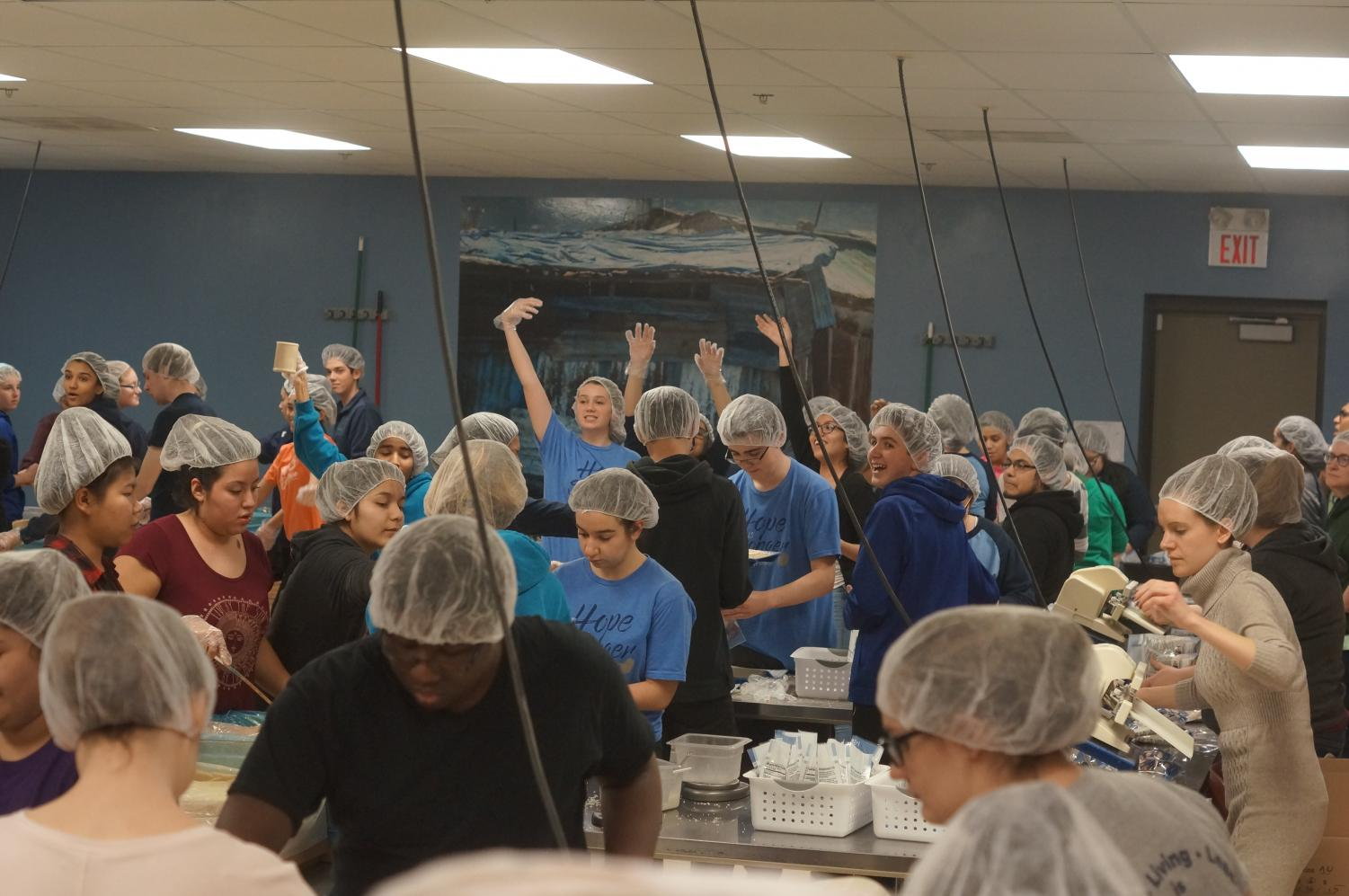 Last year 159 students and staff members packed 202 boxes of food at Feed My Starving Children.