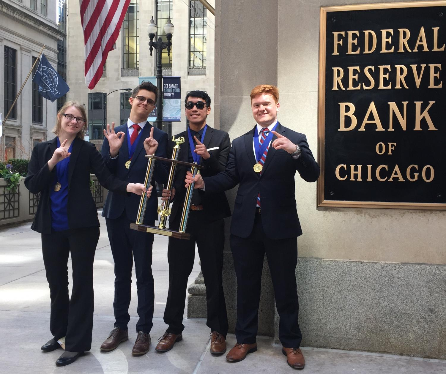 From left to right seniors Emily Pietura, Connor Thompson, Jeremy Belingon, and Michael Sawicki competed for the Personal finance challenge on April 25.