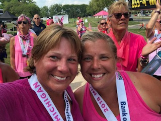 Teachers Catherine Thielberg, left, and Jen Culbertson took part in the Susan G. Komen 3-Day walk  Aug. 3-5 in Detroit, Michigan.