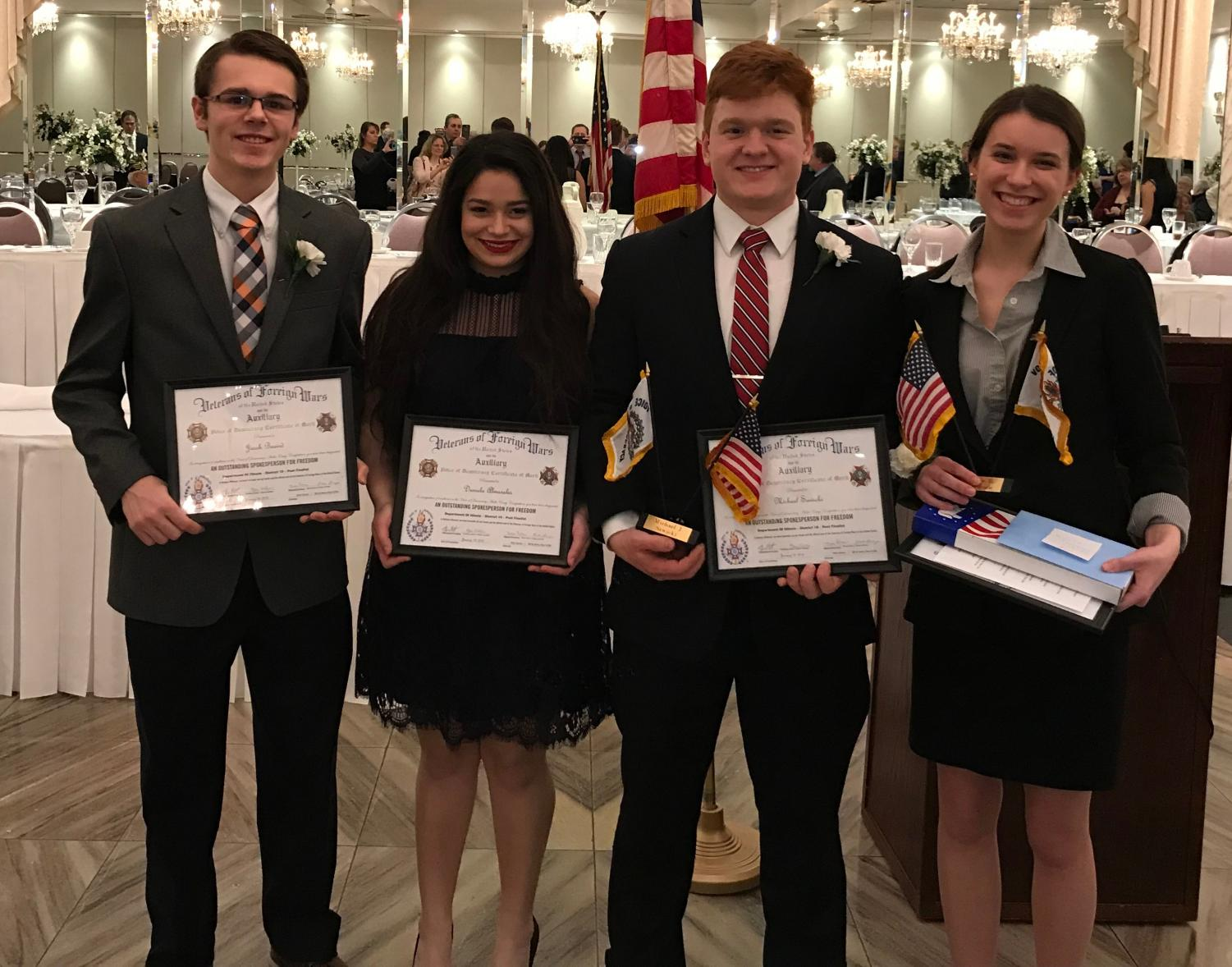 Four seniors participated in Voice of Democracy in 2017. Natalie Thompson won $750 in the competition. At last year's award ceremony, from left, are Jacob Beaird, Daniela Almarales, Michael Sawicki, and Thompson.