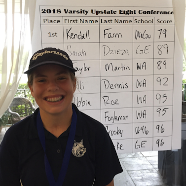 Sophomore Kendall Farm stands next to the scoreboard which shows that she won first place at the Upstate Eight Conference against eight other school competitors to move on to regionals.