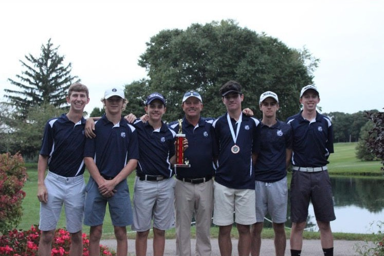 Three golfers are heading to sectionals Monday. They are seniors Bobby Bartlett and Dennis Hoffman, and junior Tighe Walsh. Pictured at sectionals are, from left, Bartlett, senior Nathan Rutledge, Hoffman, coach Steven Theil, Walsh, and juniors Connor Slattery and Sean Appleton.