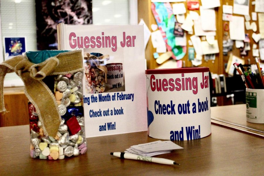 Students can submit their guesses for a chance to win a jar full of candy when they check out a book or eBook until Feb. 21.