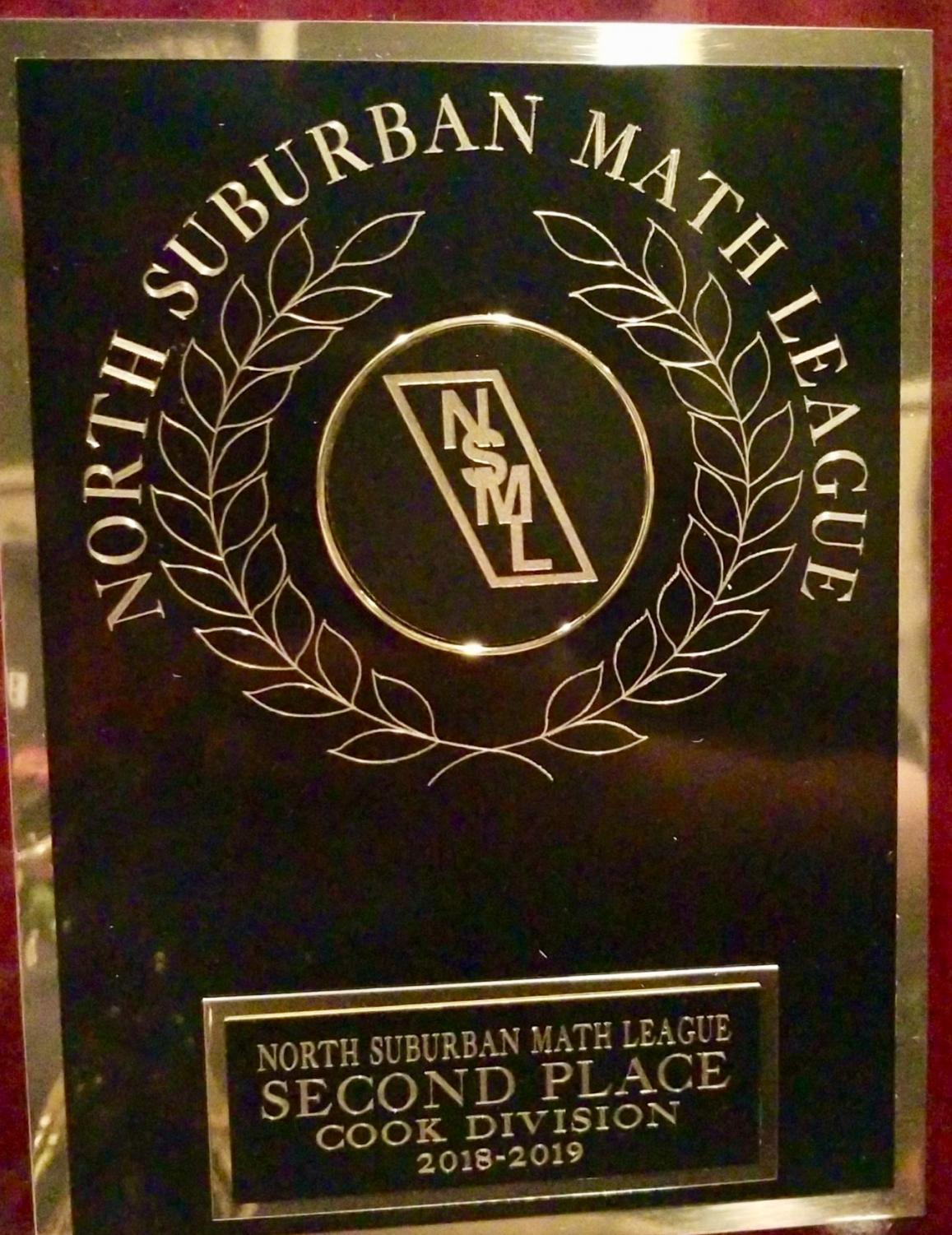 One of the plaques math team received at the NSML conference meet.