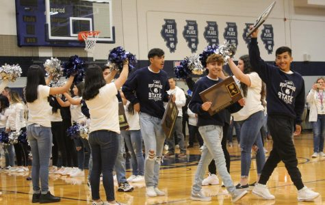 Boys varsity soccer team has special pep assembly after making it to state semifinals for the first time.
