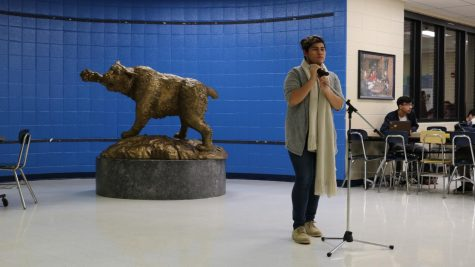 Senior Jimmy Quechol performs at the school for Tunes with the Cat in 2019.