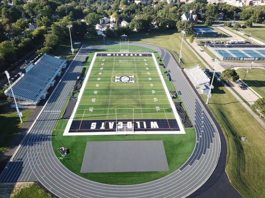Drone shot of the new turf and track. at WCCHS.