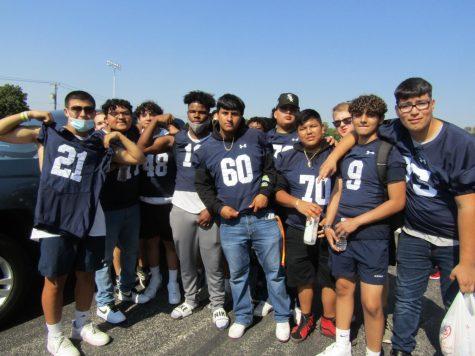 WEGO football players gather at the Homecoming parade.